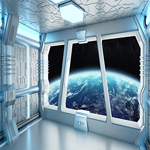 LYWYGG 8x8FT Vinyl Spaceship Interior Background Futuristic Science Fiction Photography Backdrops Spacecraft Cabin Photo Shoot Studio Props Astronomy Universe Galaxy Outer Space Station CP2140808