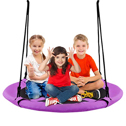 Costzon 40'' Flying Saucer Tree Swing, Safe and Sturdy Swing for Children W/ Easy Assembly, Adjustable Ropes, Ideal for Park Backyard, Playground, and Playroom (Purple)