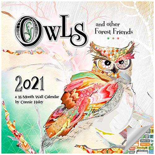 Connie Haley Owls Calendar 2021 Set - Deluxe 2021 Owl Wall Calendar with Over 100 Calendar Stickers (Owl Watercolor Gifts, Office Supplies)