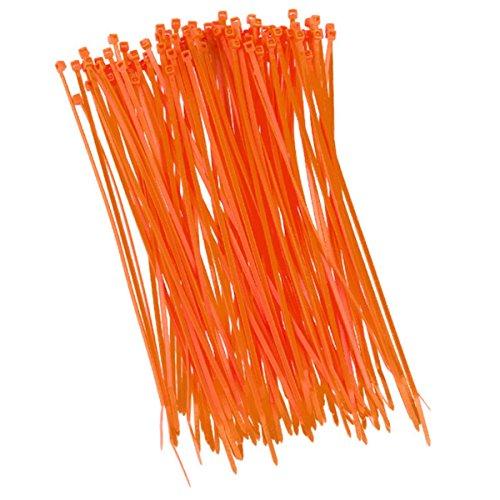 Lot de 100 serre-câbles - 200 x 2,5 mm - Orange - Pour filet d'ombrage, pare-vue et clôture