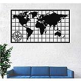 Metal World Map - Arte de pared con brújula, mapa del mundo continentes, decoración de pared de metal, cartel de metal, colgante de pared (30 pulgadas de ancho x 17 pulgadas de alto / 75 x 43 cm)