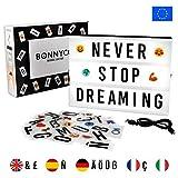 Light Box avec 105 Lettres, 60 Emojis et USB - BONNYCO | Ç Inclus | Boite Lumineuse...
