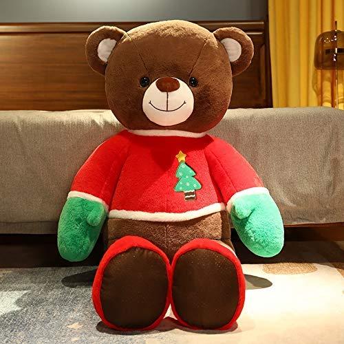 Oso de Navidad gigante de peluche, linda almohada de peluche marrón, cojines de muñeca suaves y grandes cojines, edredón de peluche, juguetes de regalo para niños y niñas 348 (tamaño: 100 cm)