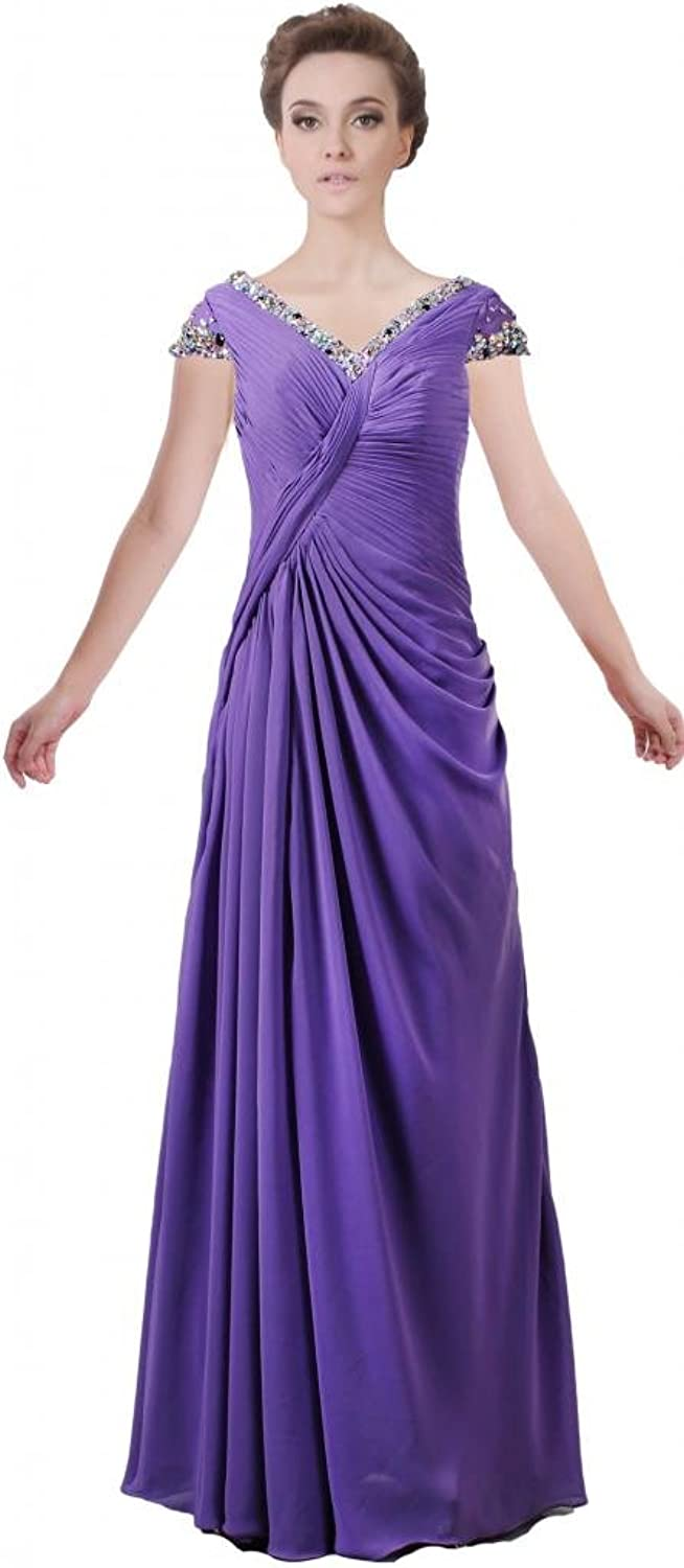 ANTS Women's Crystal V Neck Long Mother of Bride Dress with Sleeves