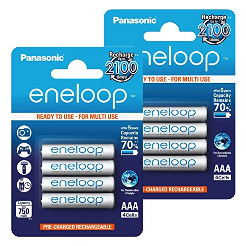 Panasonic eneloop Piles Rechargeables Batterie type de Micro AAA 800mAh préchargées