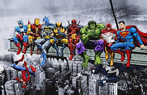 Marvel & DC Superhelden Mittagessen Auf Einem Wolkenkratzer - Kunstdruck/Poster (A1 594x841mm / 23.4x33.1) Captain America Iron Man Batman Wolverine Deadpool Hulk Flash Superman