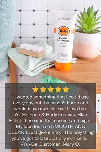 Yu-Be Foaming Exfoliating Paraben-Free Face & Body Scrub - Cleansing, Softening, and Ultra Moisturizing Polish | For All Skin Types | Natural Ingredients Ginger Root, Ginseng, Green Tea, Geranium Oil, and Camphor to Hydrate, Nourish, and Revive Dry, Dull Skin - 6.75 fl oz