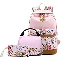 Material: Outer: Durable Canvas, Inner: Polyester cotton; Smooth Sturdy Zippers. Lunch Box: Lightweight Canvas+ Aluminum Film (inside). Fully Insulated interior design--keeps hot or cold for hours. Girls Backpacks 3 in 1: This Girl backpack set inclu...
