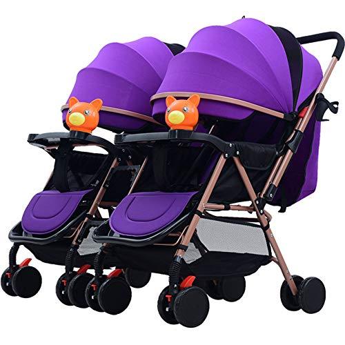 BrightFootBook Silla Gemelar para Gemelos y Hermanos - Twin Silla de Paseo Gemelar Homologada hasta 50 Kg por Asiento, con Rueda Giratoria, Encaja a Través de la Mayoría de Las Puertas,Purple