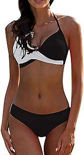 comprar comparacion CheChury Bikinis Mujer 2020 Push Up Halter Bikini Traje de baño Acolchado Bra Tops y Braguitas Bikini Sets Talla Grande Ba...