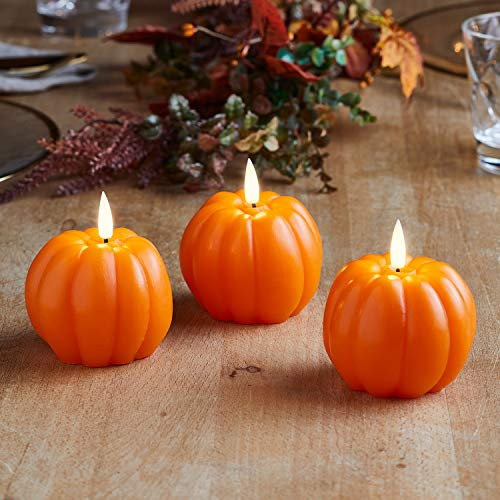 Lights4fun, Inc. Set of 3 TruGlow Pumpkin Wax Flameless LED Battery Operated Candles with Remote Control