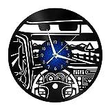 Car Cab Elements - Reloj de Pared con Disco de Vinilo de 12 Pulgadas, Reloj de Pared de Vinilo para Cocina, hogar, Sala de Estar, Dormitorio, Escuela (B), sin LED, Cocina, Hombres y