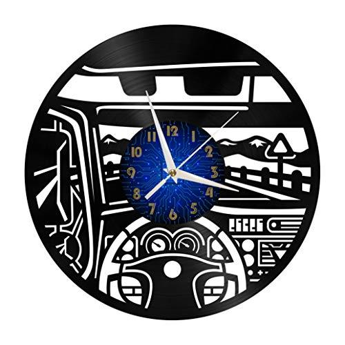 Car Cab Elements - Reloj de Pared con Disco de Vinilo de 12 Pulgadas, Reloj de Pared de Vinilo para Cocina, hogar, Sala de Estar, Dormitorio, Escuela (B), sin LED, Cocina, Hombres y Mujeres