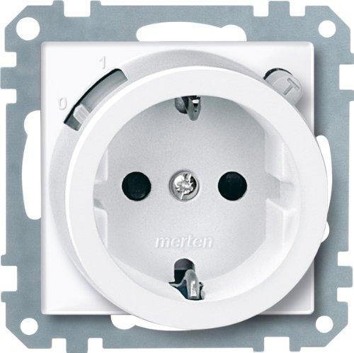 Merten 233819 FI-SCHUKO-Sicherheitssteckdosen-Einsatz mit BRS, polarweiß glänzend, System M