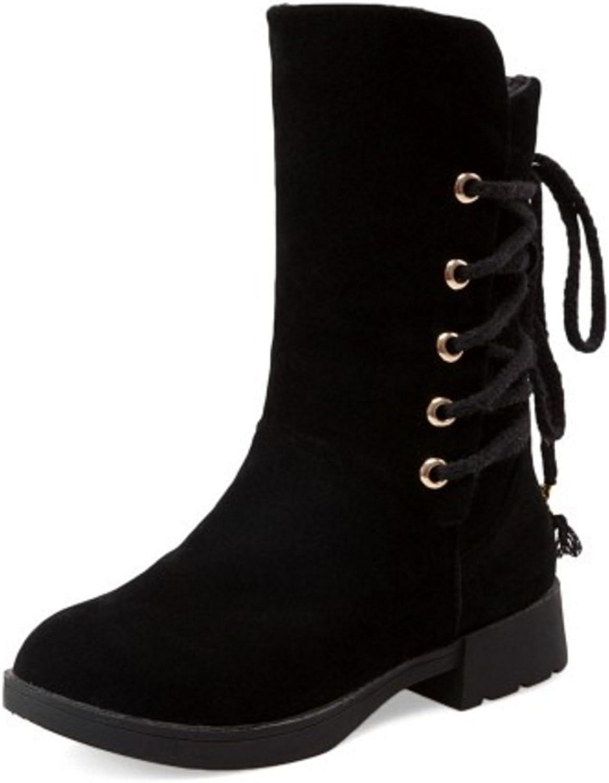 TAOFFEN Women Fashion Winter Warm Slip-on shoes Flat Mid-Calf Snow Boots