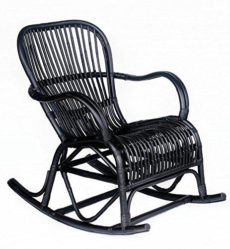 Way Home Store Chaise à bascule en bambou noir - 95 x 56 x 86 cm