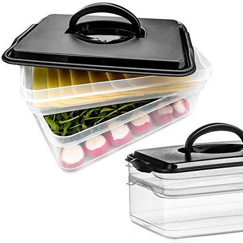 Vilde Aufbewahrungsbox Organizer Frischhaltedose für Wurstaufschnitt Käseaufschnitt 2-teilig