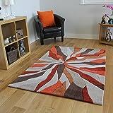The Rug House Alfombras Salón Modernas Diseño Efecto Ondas Naranja & Beige 3 Tamaños- Banbury