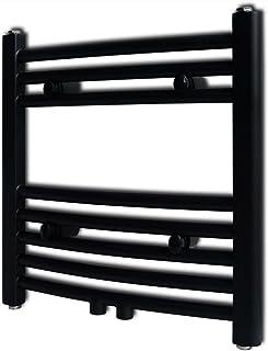Radiador toallero de baño Toalla de baño Colgando de Rejilla Tendedero Negro Curvo 480 x 480 mm
