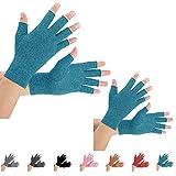 2 pares de guantes de compresión de artritis para aliviar el dolor de artritis, reumatoide, osteoartritis y túnel carpiano para hombres y mujeres, sin dedos para escribir (pequeño, azul)