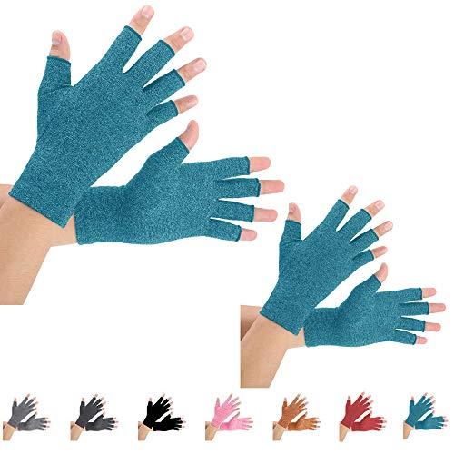 2 pares de guantes de compresión de artritis para aliviar el dolor de artritis, reumatoide, osteoartritis y túnel carpiano para hombres y mujeres, sin dedos para escribir (grande, azul)