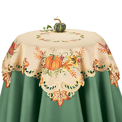 Fall Embroidered Pumpkin and Leaves Table Linens