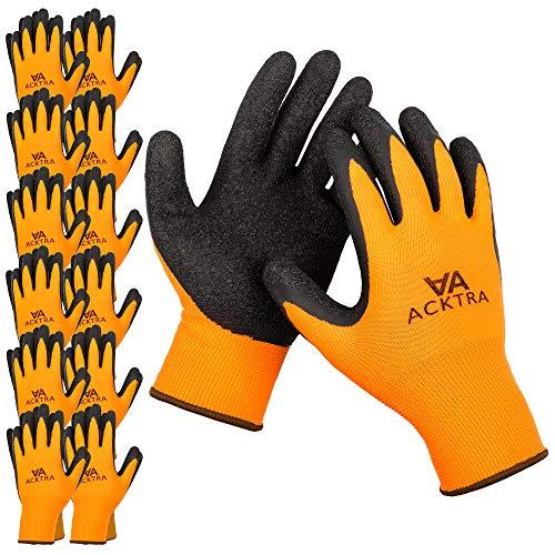 ACKTRA Coated Nylon Safety WORK GLOVES 12 Pairs, Knit Wrist Cuff, Multipurpose, for Men & Women, WG008 Orange Polyester, Black Latex, Large