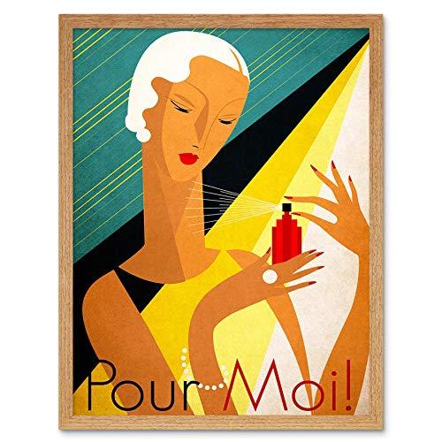 Wee Blauwe Coo Advert Gezondheid Schoonheid Parfum Geur Vrouw Fles Giet Moi Frankrijk Art Print Ingelijste Poster Muurdecoratie 12X16 Inch