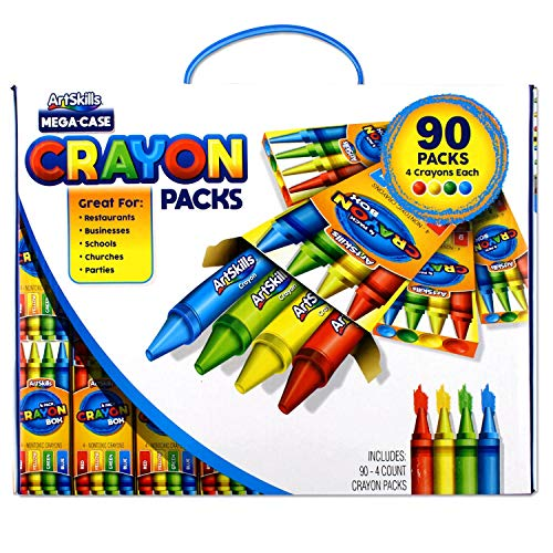 ArtSkills Mega Case of Crayons, Back to School Supplies, 4 Primary Colors, 90 Packs
