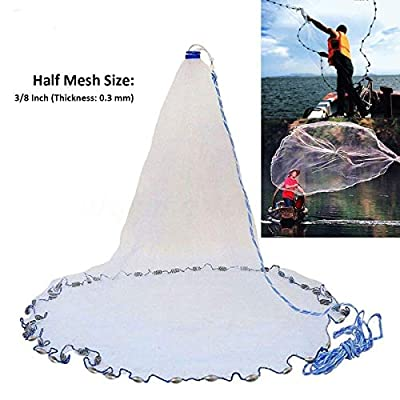 Yeahmart American Saltwater Fishing Cast Net for Bait Trap Fish 4ft/6ft/8ft Radius with Heavy Duty Real Zinc Sinker Weights and Aluminum Frisbee, 3/8inch Mesh Size