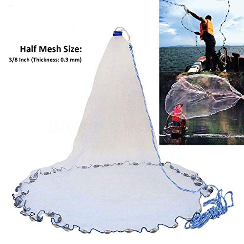 Yeahmart American Saltwater Fishing Cast Net for Bait Trap Fish 4ft Radius with Heavy Duty Real Zinc Sinker Weights and Aluminum Frisbee, 3/8inch Mesh Size