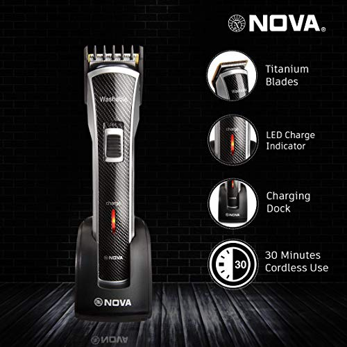 Nova NHT - 1020 Waterproof & Rechargeable Cordless: 30 Minutes Runtime Beard Trimmer for Men (Black)