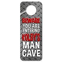 おとこ洞窟邪魔しないでくださいプラスチックドアノブハンガーサイン男性名 Ke-Ky - Kolby