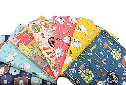 7 Unids Telas infantiles ositos zorritos100% algodon canastillas, vestiditos, cojines, cocina, guirnaldas, manualidades de costura 40 x 50 cm de CHIPYHOME