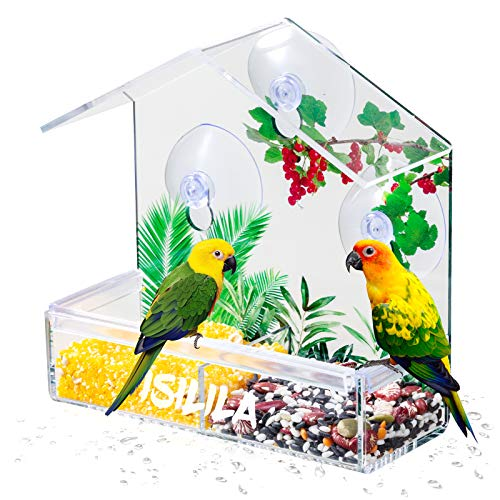 Window Bird Feeder - Isilila Extra Strong Suction Sups and Seed Tray with...