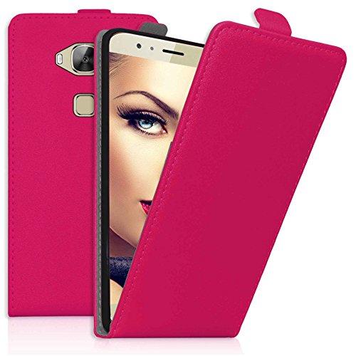 mtb more energy® Flip-Hülle Tasche für Huawei G8 (Rio) / Huawei GX8 (5.5'') - Hot Pink - Kunstleder - Schutz-Tasche Cover Hülle