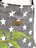 Lindong Sterne Schürze mit Tasche Baumwolle Leinen Damen Küchenschürze Latzschürze Kochschürze zum Kochen oder Backen grau - 7