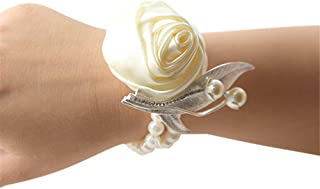 Jackcsale Fashion Wedding Bridesmaid Wrist Flower Corsage Party Hand Flower Decor with Faux Pearl Bead Wristband Ivory Pack of 2