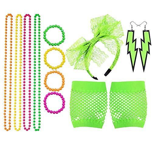 TOPWAYS® Ensemble d'accessoires de déguisement rétro années 80, robe de fête pour filles et femmes, colliers fluo, bracelets, gants en résille, bandeau en dentelle et boucles d'oreilles fluo (vert)