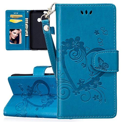 ISAKEN Compatibile con Huawei P8 Lite 2017 Custodia Cover con Strap Tinta Unita Case PU Pelle Protettiva Portafoglio Cover Flip Wallet Caso con Supporto di Stand/Carte Slot, Amore: Blu