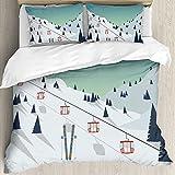 Ultraweicher Bettbezug,Winterlandschaft Skigebiet Schnee Bergl,Mikrofaser-gewaschene Bettdecke mit verstecktem Reißverschluss, für Ganzjahresbettwäsche 3er-Set (1 Bettbezug 78x78Zoll + 2 Kissenbezug)