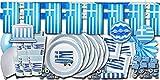 ORDENO Griechenland Flagge Party Set XXL - Partydeko und Partygeschirr im Sparset