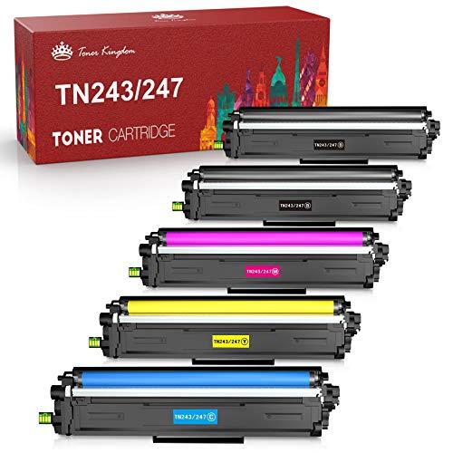 Toner Kingdom Cartucho de Tóner Compatible Repuesto para Brother TN247 TN243 para HL-L3210CW HL-L3230CDW HL-L3270CDW MFC-L3710CW MFC-L3730CDN MFC-L3750CDW MFC-L3770CDW DCP-L3510CDW (5 Paquete)