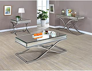 Furniture of America Xander 3 Piece Coffee Table Set in Chrome