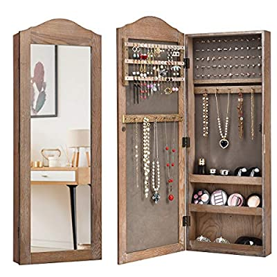 CHARMAID Jewelry Armoire Cabinet Door/Wall Mounted with Mirror, Rustic Full Length Mirrored Storage Organizer Multiple Shelves 10 Hooks, Bedroom Armoires Jewelry Cabinets