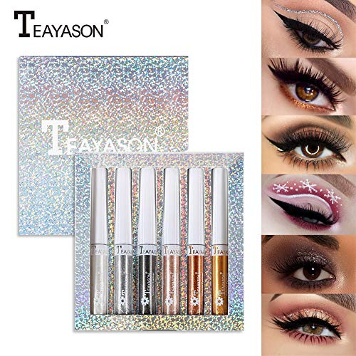 szkn 6 Pcs/Set Silkworm Liquid Waterproof Pearlescent Glitter Long Lasting Eye Makeup Set 6 Colors