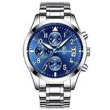 RORIOS Herren Edelstahl Uhren Analog Quarzuhr Business Fashion Kalender Metallarmband Lap Timer Stoppuhr wasserdichte Männer Armbanduhr Uhr