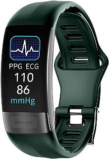 WUHUAROU Smart Band Watch - Reloj de pulsera inteligente con temperatura corporal, frecuencia cardíaca, presión arterial, oxígeno, resistente al agua, correa deportiva (color: verde)