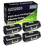 Paquete de 4 cartuchos de impresora láser MS810de MS810dn MS810dtn MS810n MS811dn MS811dtn MS811n (alta capacidad) de repuesto para Lexmark 52D2000
