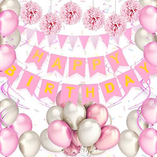 Decoración cumpleaños, juego de decoración de cumpleaños para niños 34 piezas accesorios de decoración material seguro guirnalda de feliz cumpleaños para niñas niños hombres y mujeres - rosa y blanco